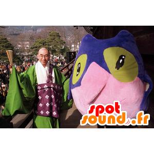 Owl Mascot, Bluebird, pinkki ja vihreä - MASFR22083 - maskotti lintuja