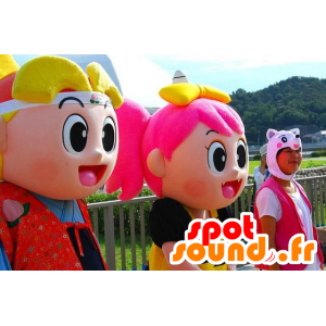 2 mascotas de niña y niño colorido manga manera