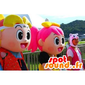 2 mascottes de fille et de garçon très coloré, façon manga
