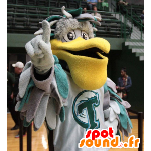 Mascot pelican gray and green, with a big yellow beak