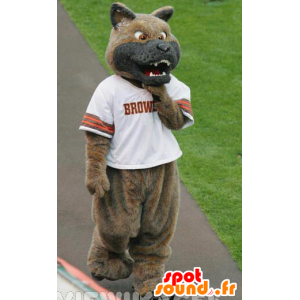 Mascot dog, brown and gray wolf to look mean - MASFR22093 - Mascots Wolf