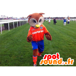 Mascot brown and white owl, orange and blue outfit - MASFR22094 - Mascot of birds