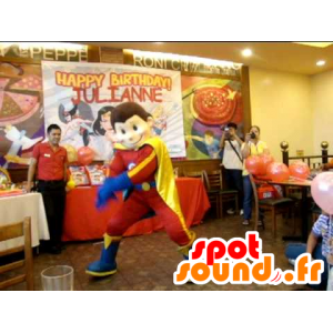 Boy mascot, superhero in red dress, yellow and blue - MASFR22095 - Superhero mascot
