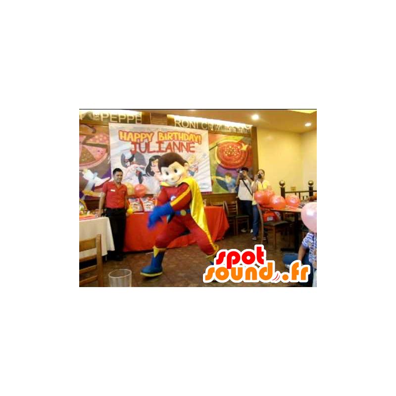 Boy Mascot, superheld outfit in de kleuren rood, geel en blauw - MASFR22095 - superheld mascotte