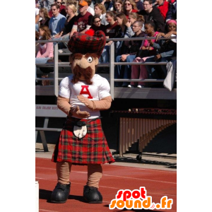 Mascotte mustachioed Scottish plaid kilt