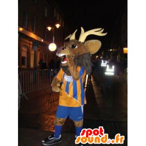 Hjort maskot, villrein, brun momentum i sportsklær - MASFR22099 - Stag og Doe Mascots