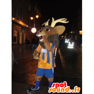 Mascotte deer, caribou, moose and brown in sportswear - MASFR22099 - Mascots stag and DOE