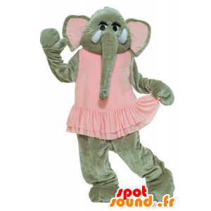 Gray elephant mascot in pink dress