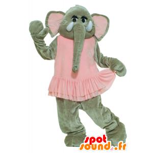 Grijze olifant mascotte in roze kleding