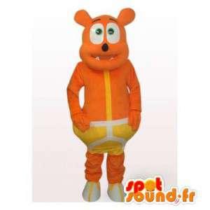 Oranssi karhu maskotti keltaisella alusvaatteita. Bear Suit - MASFR006491 - Bear Mascot