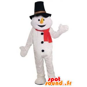 Mascotte de bonhomme de neige avec un chapeau noir