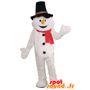 Muñeco de nieve con la mascota sombrero negro