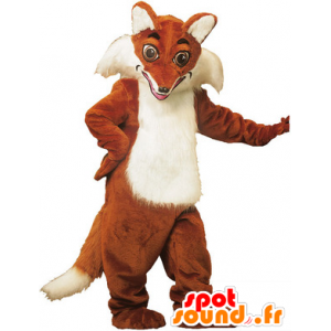 Mascot orange and white fox, very realistic