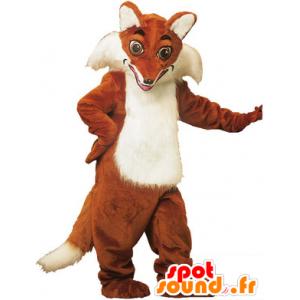 Mascotte de renard orange et blanc, très réaliste