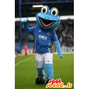 Blå grodamaskot, i sportkläder - Spotsound maskot
