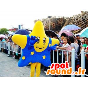 Mascot jättiläinen keltainen tähti ja sininen asu - MASFR22139 - Mascottes non-classées