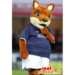 Mascotte de renard orange et blanc, en tenue de sport
