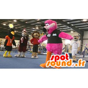 Flamenco rosado mascota, gigante, peludo todo