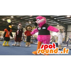 Flemish mascot pink, giant, hairy all - MASFR22145 - Mascots of the ocean