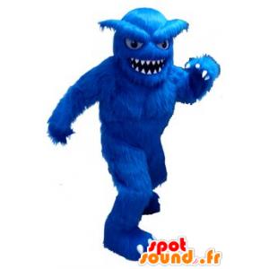 Mascotte de yéti bleu, tout poilu, avec de grandes dents