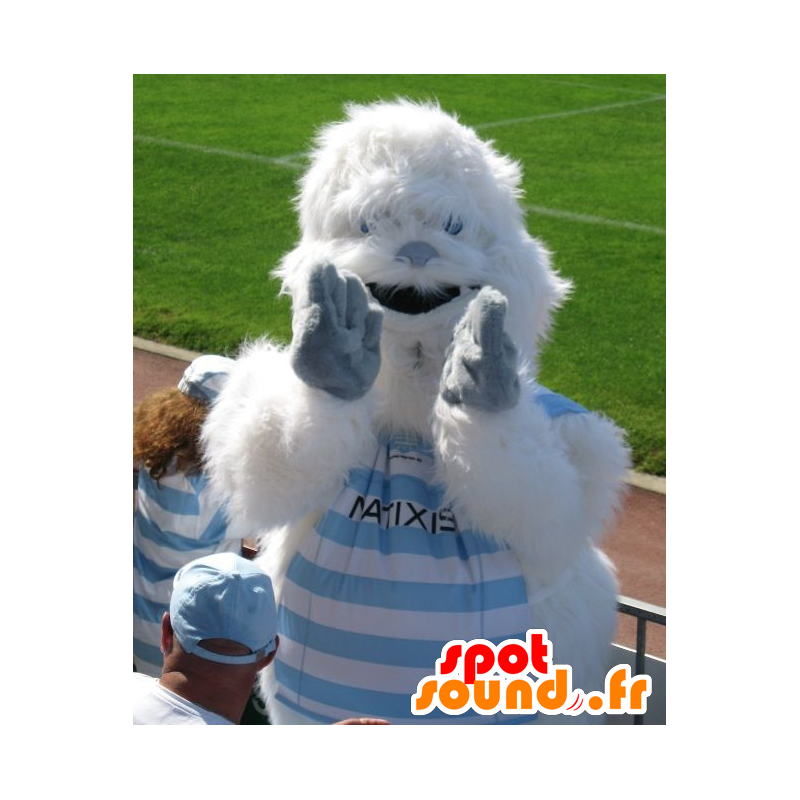 Mascotte de yéti blanc et bleu, tout poilu - MASFR22156 - Mascottes animaux disparus
