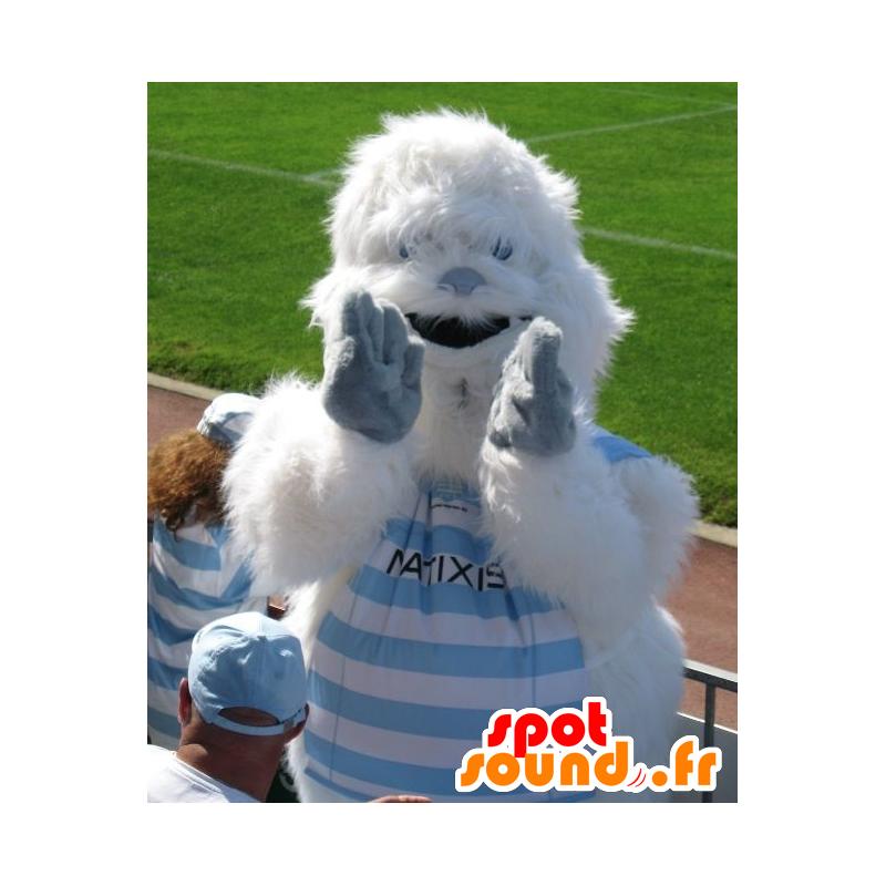 Maskotka yeti biały i niebieski, cały owłosiony - MASFR22156 - wymarłe zwierzęta Maskotki