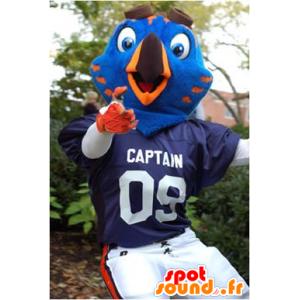 Niebieski i pomarańczowy ptaka maskotka w sportowej - MASFR22159 - ptaki Mascot