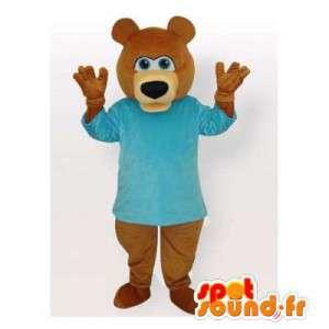 Brown bear mascot blue t-shirt - MASFR006494 - Bear mascot