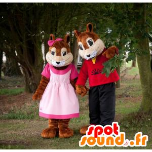 2 mascotes esquilos, menina e menino