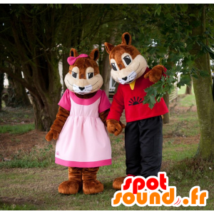 2 mascotte scoiattolo, ragazzo e ragazza