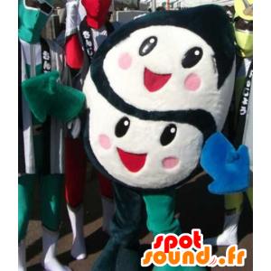 Black and White Mascot 2 gezichten, schattig en enthusiatic - MASFR22184 - Niet-ingedeelde Mascottes