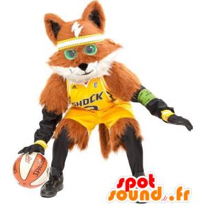 Mascot oranje en witte vos, alle harige