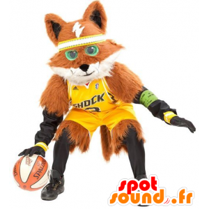 Maskot oranžová a bílá liška, všechny chlupatý