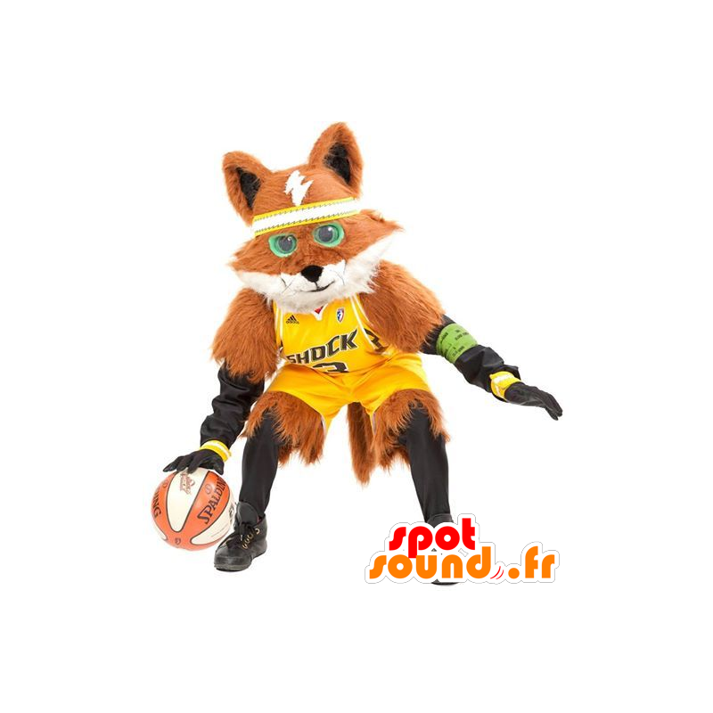 Mascotte de renard orange et blanc, tout poilu - MASFR22187 - Mascottes Renard