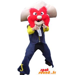 Mascotte de shérif moustachu, avec un chapeau et des poils rouges