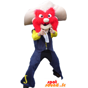 Sheriffi maskotti viikset, hattu ja punaiset hiukset