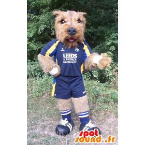 Mascote cão marrom, todo peludo no sportswear - MASFR22208 - Mascotes cão