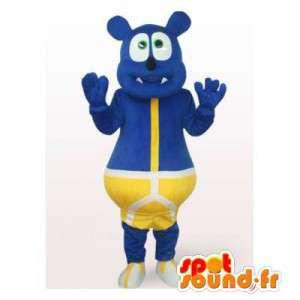 Mascot blauw beer in het geel slipje - MASFR006495 - Bear Mascot