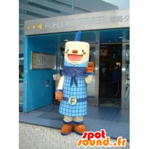 Mascot cilindrische vent, blauw en lachend - MASFR22220 - Niet-ingedeelde Mascottes