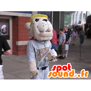 Dog Mascot, beige bulldog, in sportswear - MASFR22225 - Dog mascots