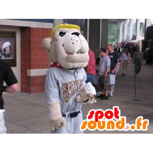 Hundemaskottchen, beige Bulldogge, in der Sportkleidung - MASFR22225 - Hund-Maskottchen