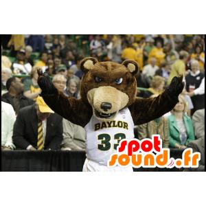 Mascot bjørn brun og beige, blå øyne - MASFR22226 - bjørn Mascot