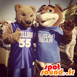 2 karhu maskotit vuonna urheiluvaatteet - MASFR22228 - Bear Mascot