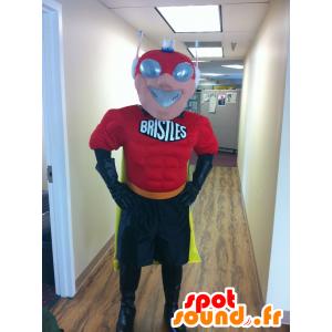 Mascota super héroe con una máscara futurista