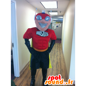 Superhero mascotte con una maschera futuristico