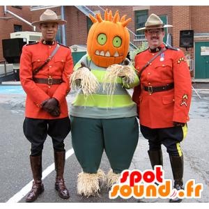 Mascote espantalho com uma cabeça da abóbora - MASFR22231 - Halloween