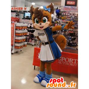Mascotte de renard marron, en robe de pom-pom girl
