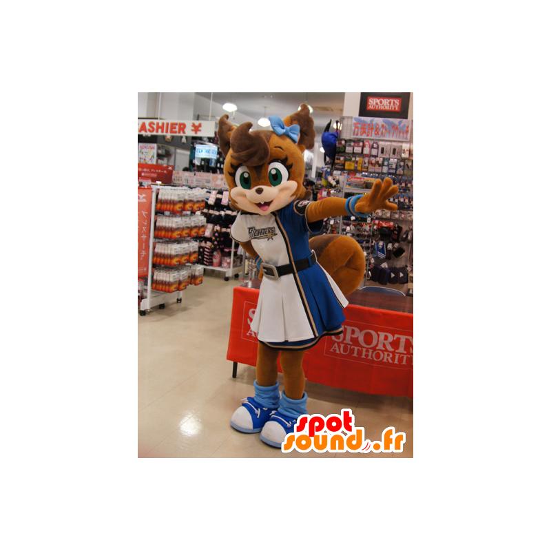 Mascotte de renard marron, en robe de pom-pom girl - MASFR22236 - Mascottes Renard