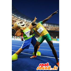 Ruskea nalle maskotti urheiluvaatteita - MASFR22237 - Bear Mascot