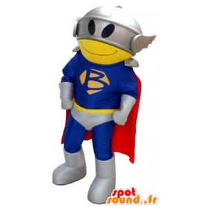 Mascotte de super-héros, avec un costume, une cape et un casque